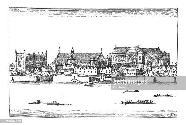 westminster with the parliament house in fourteenth century - circa 14th century stock illustrations, clip art, cartoons, & icons