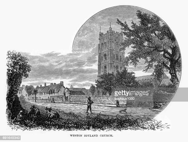 weston zoyland church, sedgemoor, somerset, england victorian engraving, 1840 - spire stock illustrations, clip art, cartoons, & icons