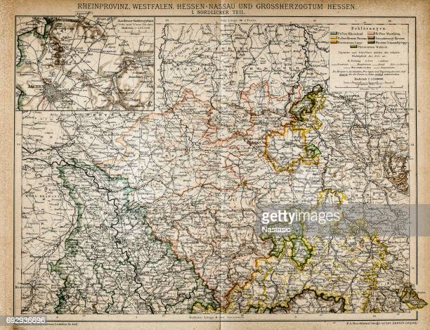 westphalia, hesse-nassau and grand duchy of hesse rhine province - country geographic area stock illustrations, clip art, cartoons, & icons