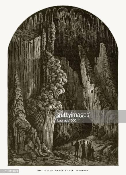 Weyer's Cave, The Geyser, Staunton, Virginia, United States, American Victorian Engraving, 1872