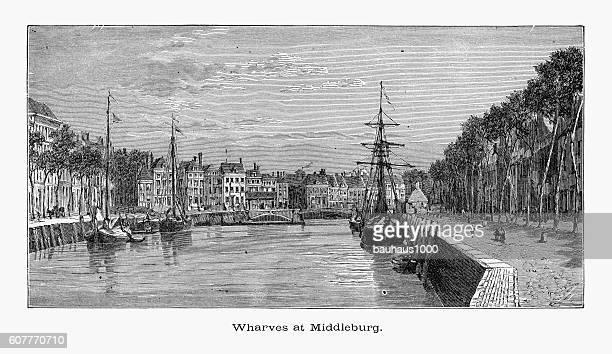 Wharves or Wharf, at Middleburg, Zeeland, Netherlands 1887