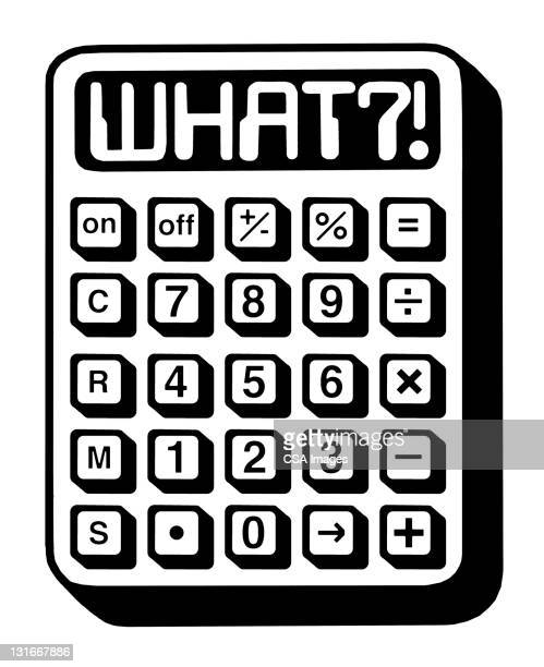ilustrações, clipart, desenhos animados e ícones de what?! calculator - subtração