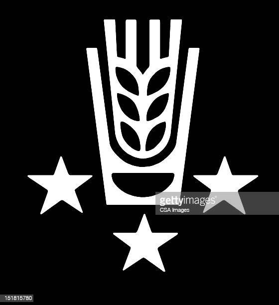 wheat and stars - four objects stock illustrations