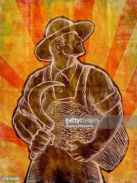 A wheat farmer with a scythe