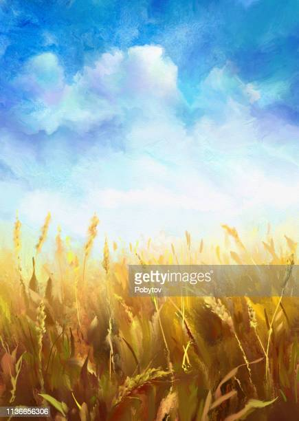 wheat field, watercolor - plant stem stock illustrations