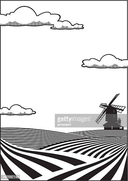 wheatfield background - rolling landscape stock illustrations