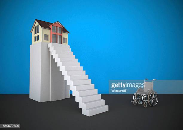 wheekchair in front of steep stairs - tall high stock illustrations