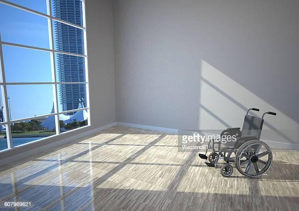 ilustraciones, imágenes clip art, dibujos animados e iconos de stock de wheel chair in the room with sun lights, 3d illustration - enfermera
