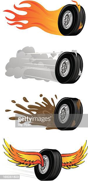 wheel set - tire vehicle part stock illustrations, clip art, cartoons, & icons