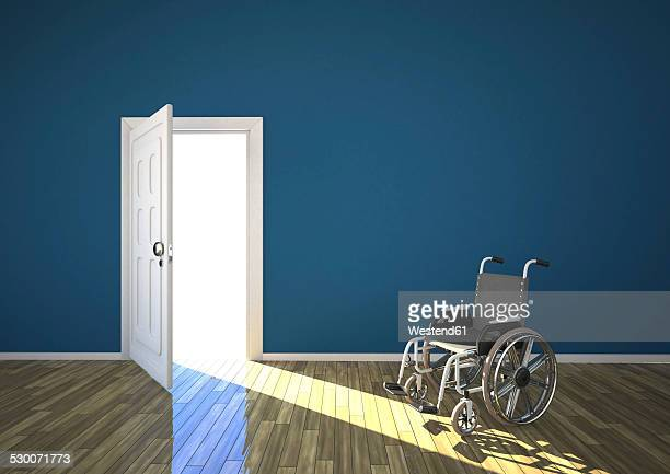 wheelchair and sunlight shining through open door, 3d rendering - disabled access点のイラスト素材/クリップアート素材/マンガ素材/アイコン素材
