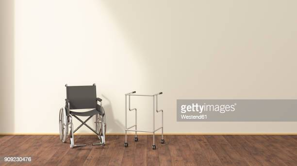 wheelchair and wheeled walker in a waiting room, 3d rendering - floorboard stock illustrations, clip art, cartoons, & icons