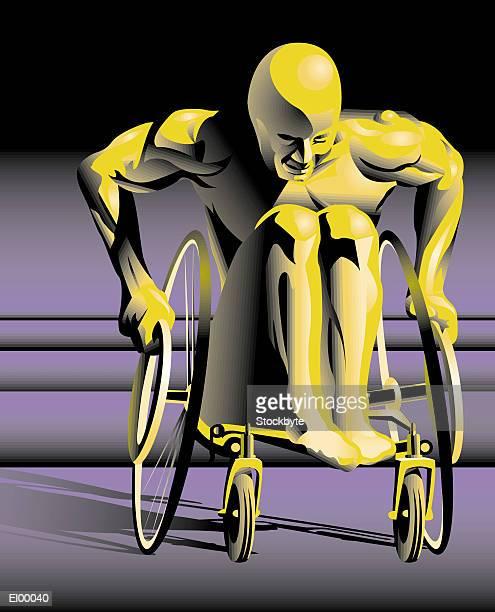 Wheelchair athlete pushing wheels