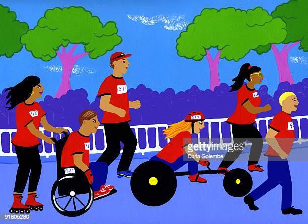 A wheelchair charity race