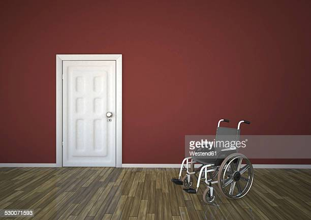 wheelchair with closed door, 3d rendering - disabled access点のイラスト素材/クリップアート素材/マンガ素材/アイコン素材