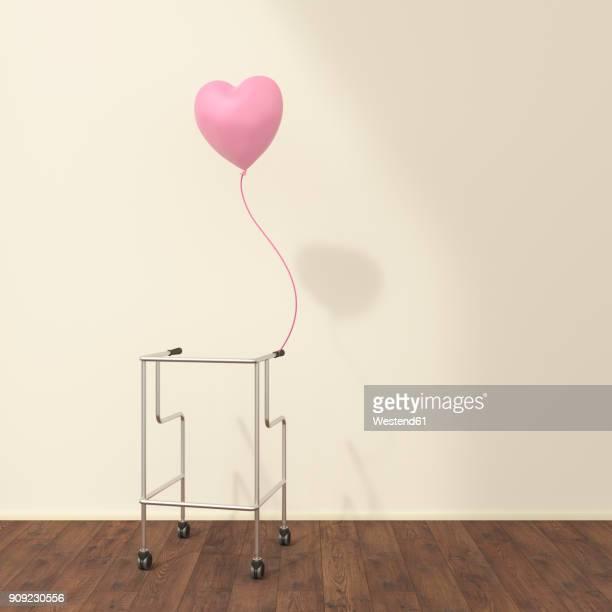 wheeled walker and pink balloon in a waiting room, 3d rendering - trösten stock-grafiken, -clipart, -cartoons und -symbole