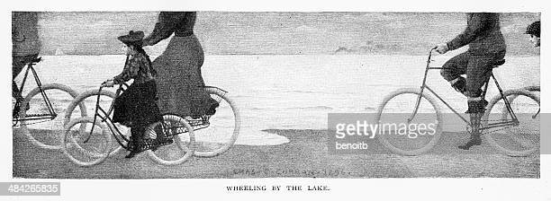 wheeling by the lake - classical style stock illustrations, clip art, cartoons, & icons