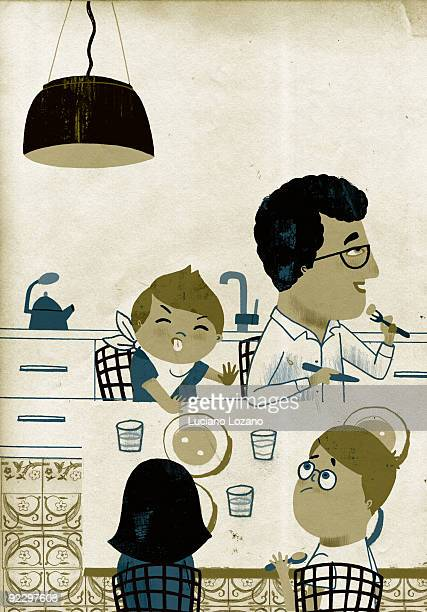 when dad prepares lunch - social grace stock illustrations, clip art, cartoons, & icons