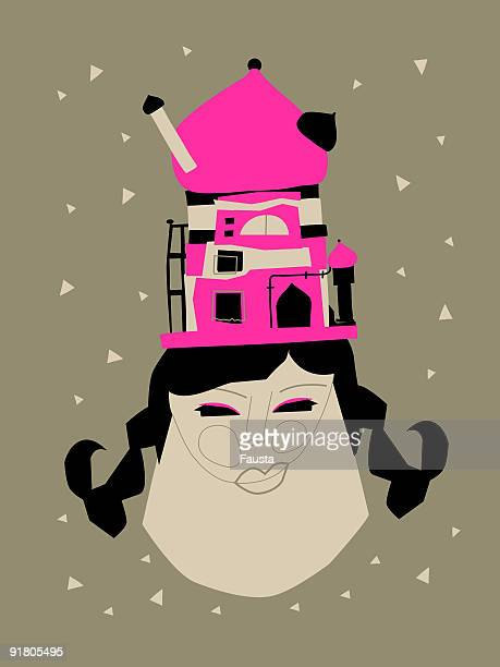 a whimsical illustration of a woman with a building on her head - onion dome stock illustrations, clip art, cartoons, & icons
