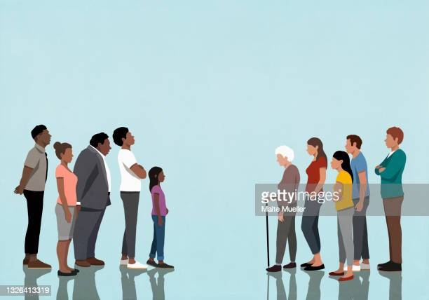 white and black communities facing off - full length stock illustrations