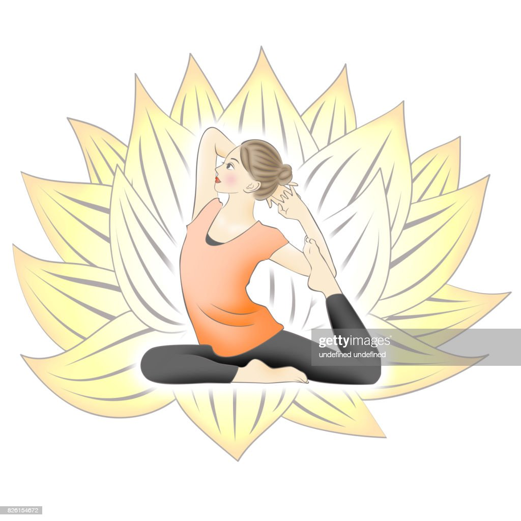 White Background Yoga And Yellow Lotus Flower Stock Illustration