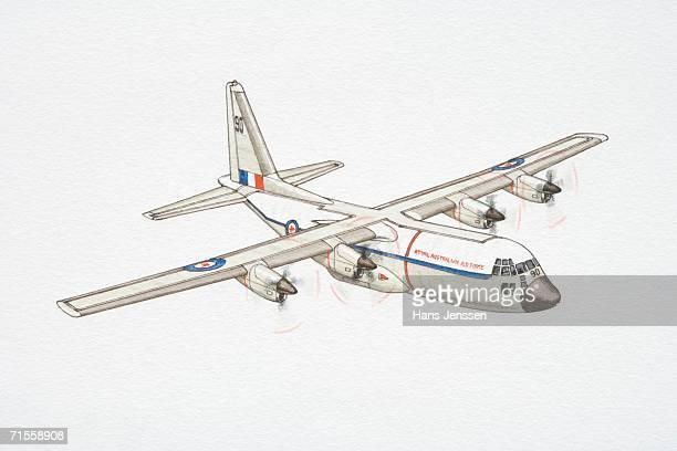 white c-130 hercules military plane. - us air force stock illustrations, clip art, cartoons, & icons