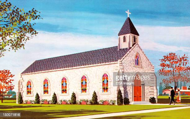 white church building - steeple stock illustrations, clip art, cartoons, & icons