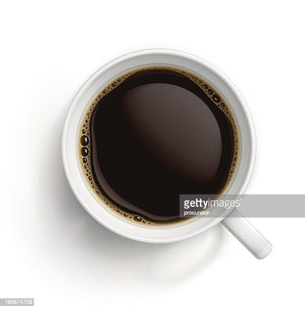 white cup with black coffee - looking down stock illustrations, clip art, cartoons, & icons