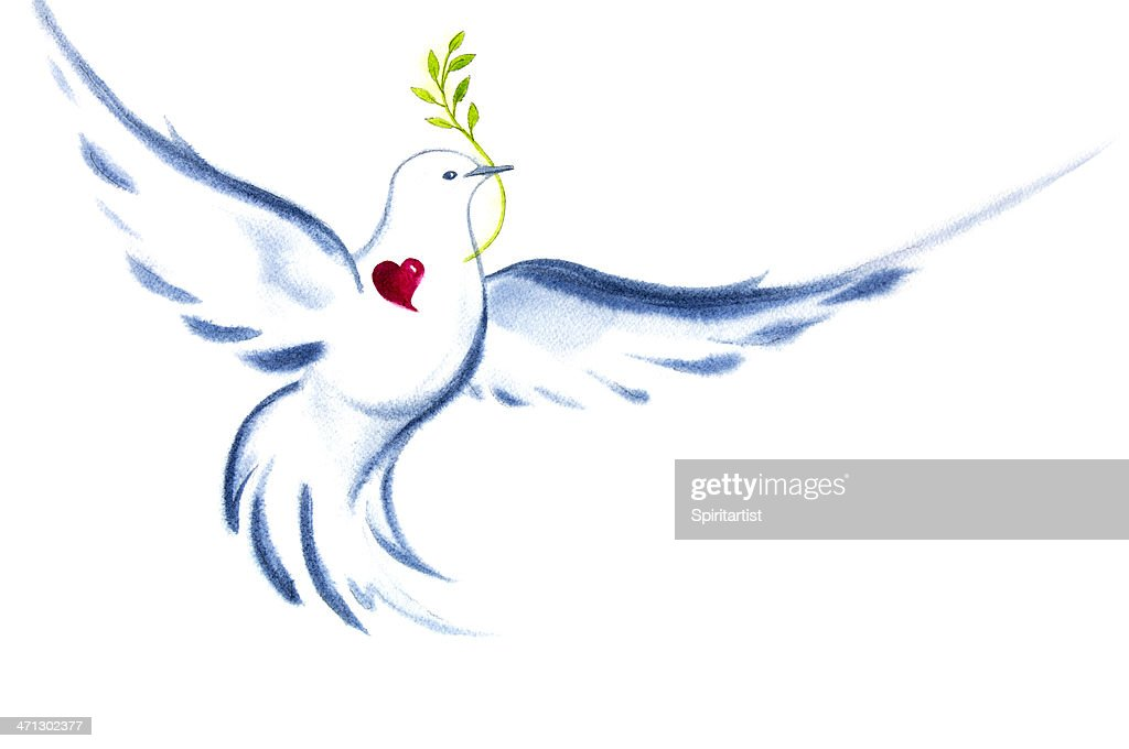White Dove Spirit Of Love and Peace : Stock Illustration