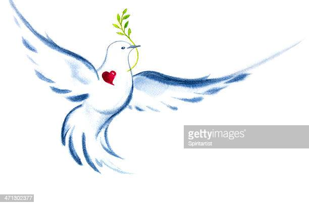 white dove spirit of love and peace - symbols of peace stock illustrations