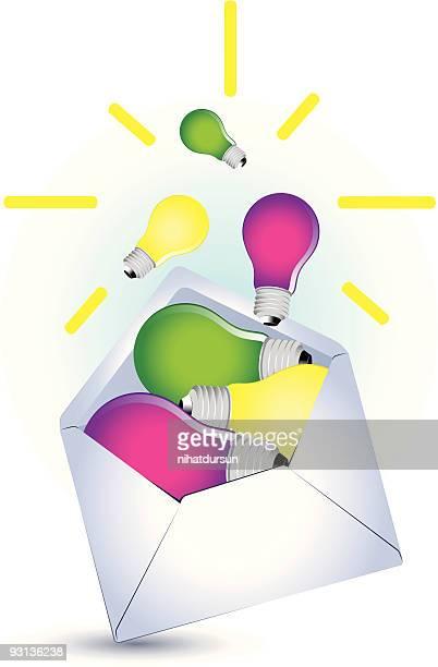 White envelope with coloured lightbulbs