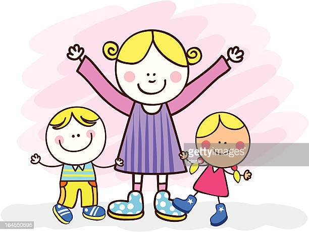 white family with siblings or mother and children cartoon illustration - kids hugging mom cartoon stock illustrations