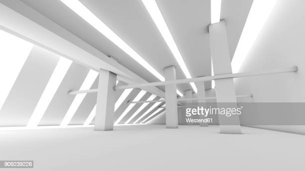 White futuristic room, 3D Rendering