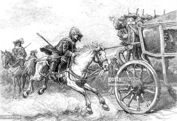 white galloping horse  race next to carriage - musketeer stock illustrations, clip art, cartoons, & icons