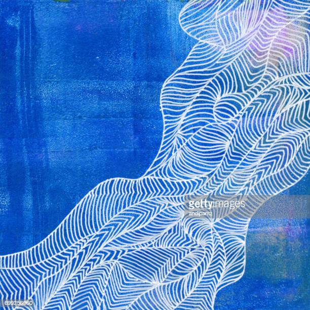 White line art over blue acrylic background