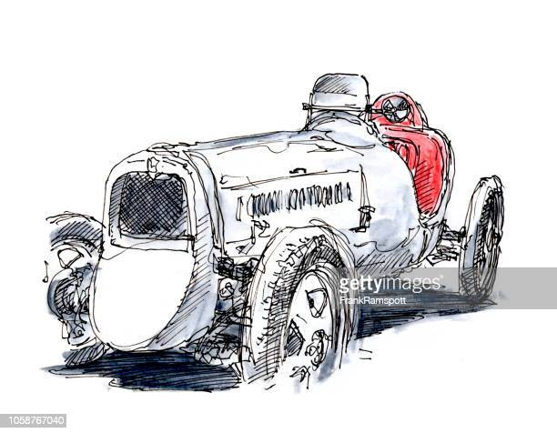 Klassische Rennwagen Monoposto 1931 weiße Tusche Zeichnung und Aquarell
