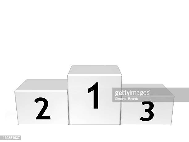 white, numbered podium, concept picture, symbol for success, winner, victor, the best, number one, 3d illustration - winners podium stock-grafiken, -clipart, -cartoons und -symbole