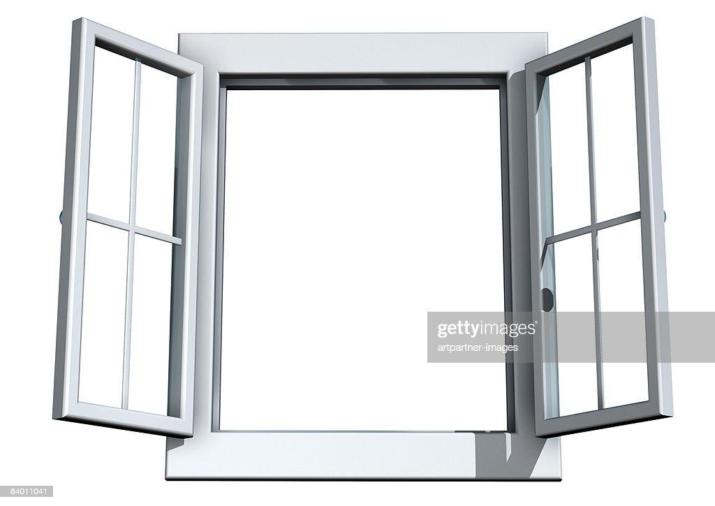 white open window on white background : Ilustración de stock