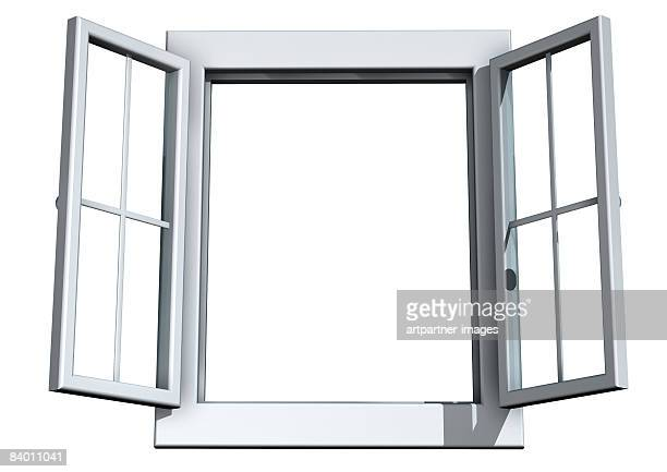 illustrations, cliparts, dessins animés et icônes de white open window on white background - fenetre ouverte