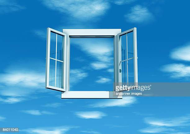 illustrations, cliparts, dessins animés et icônes de white open window with blue sky - fenetre ouverte