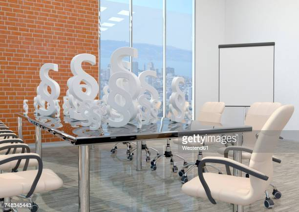 white paragraphs on the table in the business room, 3d illustration - conference table stock illustrations, clip art, cartoons, & icons