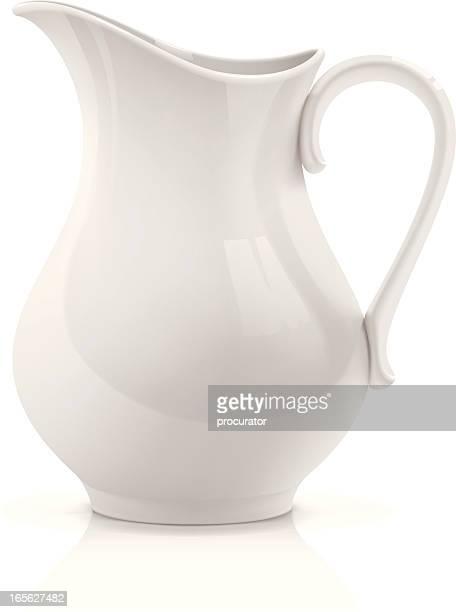 white pitcher - ceramics stock illustrations, clip art, cartoons, & icons