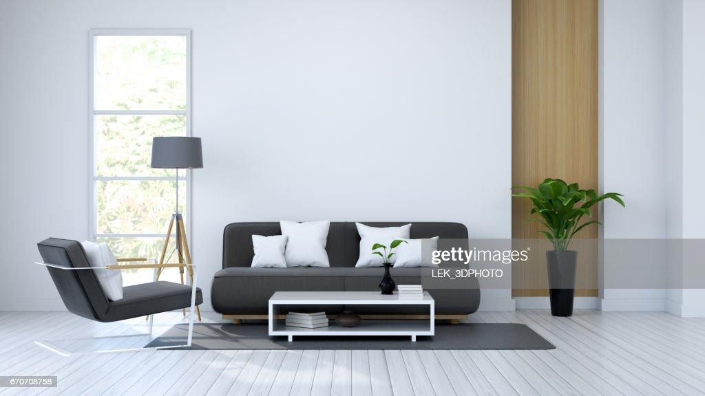 Whiteroom Interieur Schwarzen Sofa Auf Weißen Boden Und Weißen Wand ...