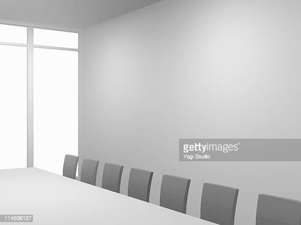 A white room, table and chair