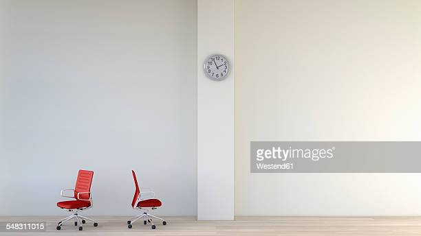 stockillustraties, clipart, cartoons en iconen met white room with two red office chairs and a wall clock, 3d rendering - zonder mensen