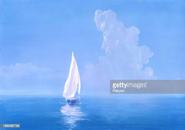 white sail on calm sea - seascape stock illustrations, clip art, cartoons, & icons
