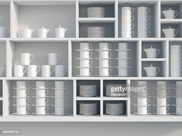 illustrations, cliparts, dessins animés et icônes de white shelf with dishes, 3d rendering - empilé