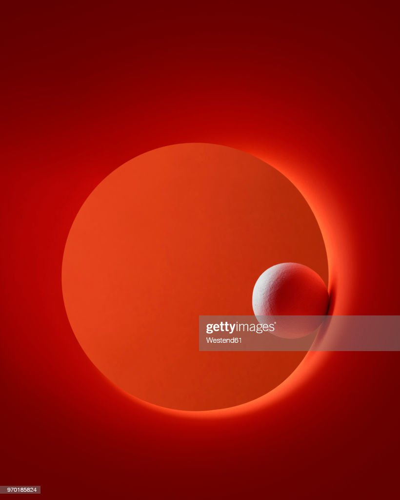 White sphere rolling in red circle : Stock Illustration