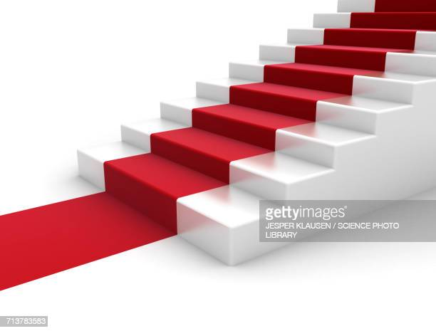 White steps with red carpet