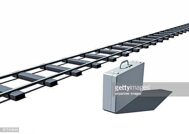 white suitcase and railway tracks - 不在点のイラスト素材/クリップアート素材/マンガ素材/アイコン素材