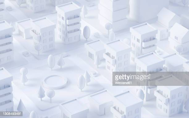 white three dimensional render of pond in city park - 白色点のイラスト素材/クリップアート素材/マンガ素材/アイコン素材